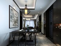 绿地一号—80平米—两居—中式风格装修效果图 (4)