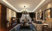 文华名邸—128平米—三居室—新中式装修效果图 (4)