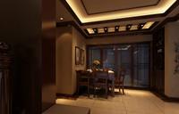 绿地玫瑰城—109平米—三居室—新中式乐虎国际登陆效果图 (5)