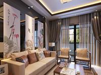 乐园小区—110平米—三居室—新中式龙8国际pt老虎机效果图 (4)
