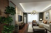 安泰家园—145平米—三居室—新中式装修效果图 (5)