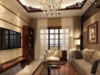 步红花园—121平米—三居室—新中式装修效果图 (4)