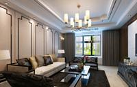 公园一号—141平米—三居室—新中式装修效果图 (4)