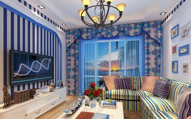 天潮华都小区-110平方米-三居室-地中海风格装修效果图 (4)