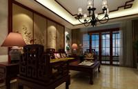 西城美苑—128平米—四居室—新中式龙8国际pt老虎机效果图 (4)