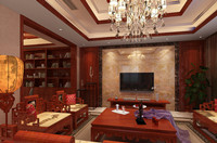 塞纳溪谷—130平米—三居室—新中式龙8国际pt老虎机效果图 (4)