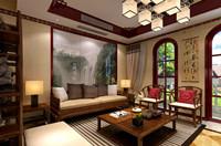 香樟花园—252平米—别墅—新中式龙8国际pt老虎机效果图 (6)