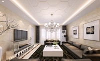 天潮华都-268平米-四居室-现代简约风格龙8国际pt老虎机效果图 (3)