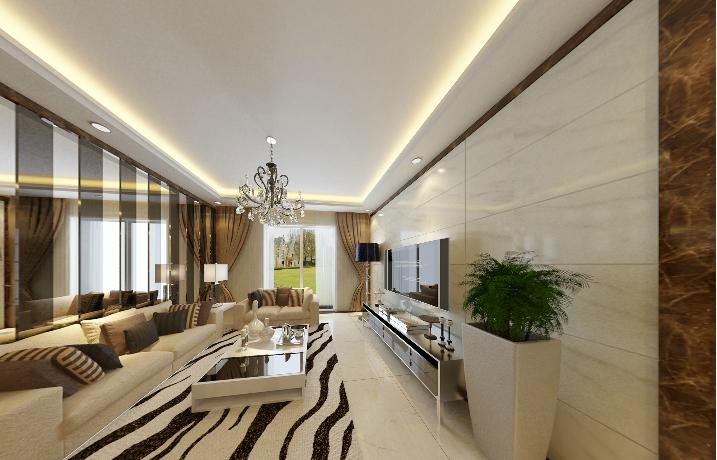 梦园小区-100平方米-三居室-后现代风格龙8国际pt老虎机效果图 (5)