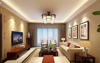江南四区—140平米—四居室—新中式龙8国际pt老虎机效果图 (3)