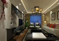永胜小区—126平米—三居室—新中式龙8国际pt老虎机效果图 (3)