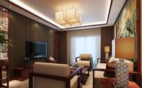 长虹小区—97平米—两居室—新中式龙8国际pt老虎机效果图 (3)