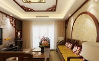 天和苑—137平米—三居室—新中式龙8国际pt老虎机效果图 (4)