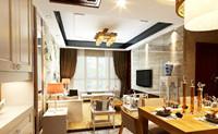 华源南村小区—80平米—两居室—新中式龙8国际pt老虎机效果图 (3)