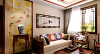 唐城御府—89平米—两居室—新中式龙8国际pt老虎机效果图 (3)