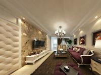 春苑小区136平米三居室现代欧式风格装修效果图 (4)