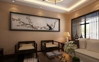弘福花园—80平米—三居室—新中式乐虎国际登陆效果图 (3)