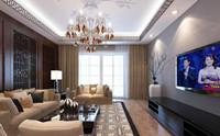 华新名筑—108平米—两居室—新中式龙8国际pt老虎机效果图 (3)