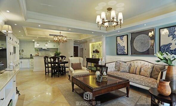 潘庄小区-120平方米-三居室-美式风格龙8国际pt老虎机效果图 (8)
