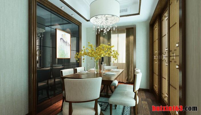 150平米—四居室—新中式风格装修效果图—餐厅