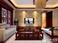 香江华庭-140平米-三居室-中式风格乐虎国际登陆效果图 (5)