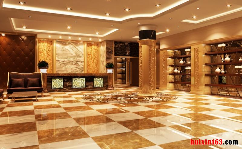 其实这也难怪,因为国内一些著名的五星级酒店大部分的涉外或有外资背景,包括一些比较大的五星大饭店,连品牌都是国外的,此种情况下,采用欧式风格的装饰装修设计实施效果,自然是顺利成章了。 通常情况下,这些酒店大堂都会通过高度营造空间的大气特征,然后用富丽堂皇,变幻莫测的色彩协调搭配来配合大堂的整体气氛,往往给人一种贵气十足、富贵逼人的气质,满满都是高端的气息。 而且,在大部分酒店大堂的装饰装修的案例中可以很轻易的发现,很多都会对大堂空间的布局中使用大量石质建材的方式,比如,欧式大理石抛光地砖是酒店大堂装饰装修