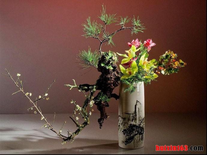盆景式插花手绘图